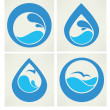 Stock Vector: Water stickers, icons and symbols in flat style