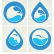 water stickers, pictogrammen en symbolen die in de vlakke stijl — Stockvector  #41423625