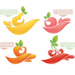 Juice stickers and fruits symbols — Stock Vector #42001015