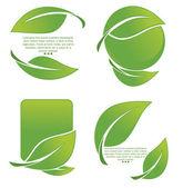 亮绿色叶帧和贴纸的向量集合 — 图库矢量图片