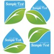 Fresh leaves on blue stickers — Stock Vector