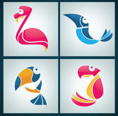 Vector collection of bright birds signs, symbols and icons — Stock Vector