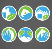 Vector collection of ecological property symbols, signs and icon — Stock Vector