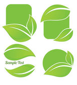 Vector collection of bright green leaf frames and stickers — Stok Vektör