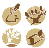 Vector set of round ecology, nature, and homes icons — Stock Vector