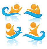 Vector collection of aqua park and swimming actions symbols — Stock Vector