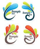 Glossy bright leaf frames and symbolsStock Vector Illustration: — Stock Vector