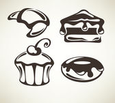Cakes and bakery images, symbols and emblems — Stock Vector