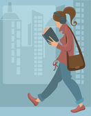 Reading girl, vector background — Stock vektor