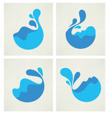 Water stickers, icons and symbols in flat style — Stock Vector