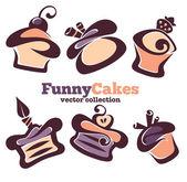 Raccolta di cupcakes divertenti cartoon — Vettoriale Stock