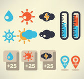 Weather vector icons set for your widget — Stock Vector