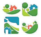Vector set of ecology village signs, symbols and icons — Stock Vector