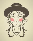 Vector portrait of my lovely grandma — Stock Vector
