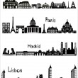 Sights of Rome, Paris, Madrid and Lisbon, b-w vector — Vector de stock
