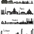 Sights of Rome, Paris, Madrid and Lisbon, b-w vector — ストックベクタ