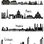 Sights of Rome, Paris, Madrid and Lisbon, b-w vector — Stock Vector