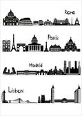 Sights of Rome, Paris, Madrid and Lisbon, b-w vector — Stok Vektör