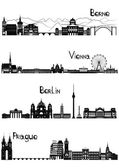 Sights of Berne, Berlin, Vienna and Prague, b-w vector — Stok Vektör