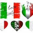 Stock Vector: I love italy set