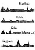 Sights of Stockholm, Oslo, Reykjavik and Helsinki, b-w vector — Stok Vektör