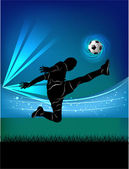 Football player - jump kick — Stock Vector