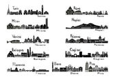 Silhouette signts of 11 cities of Italy — 图库矢量图片