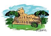 Colosseum watercolor — Stock Vector