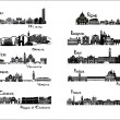 10 cities of Italy  - silhouette signts — Stock Vector