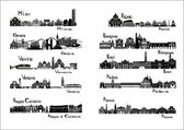 10 cities of Italy - silhouette signts — Stok Vektör