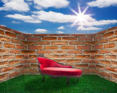 Red Chair and Old Brick Wall — Stock Photo
