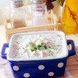 Close-up of russicold vegetable soup on yogurt (sour-milk) base - okroshka — Stok Fotoğraf #12337310