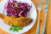 Fish with salad — Stock Photo
