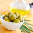 Stock Photo: Green olives and oil