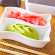 Stock Photo: Pickled ginger with soy sauce and wasabi for sushi