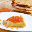 pancakes with caviar — Stock Photo