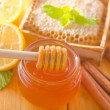 Honey and cinnamon — Stock Photo