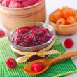Rasberry and jam — Stock Photo