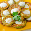 Zucchini fritters on a plate — Stock Photo
