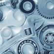 Machine gear, metal cogwheels, nuts and bolts — Stock Photo #14309023