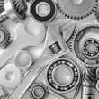 Machine gear, metal cogwheels, nuts and bolts — Stock Photo #14309027