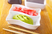 Pickled ginger with soy sauce and wasabi for sushi — Stock Photo