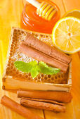 Honey with cinnamon and lemon — 图库照片