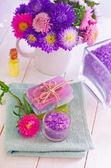 Aroma sea salt and soap — Stock Photo