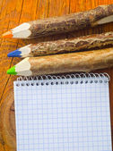 Pencils and note — Stock Photo