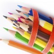 Stock Photo: Colored pencils in ribbon