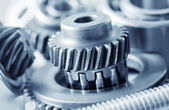 Industrial gear machinery, engineering parts in blue toning — Stock Photo