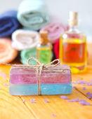 Spa still life with handmade soap — Stock Photo