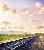 Rails nature clouds — Stock Photo