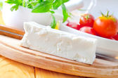 Feta and other ingredients for greek salad — Stock Photo